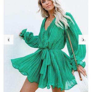 Viera Polka Dot Pleated Green Romper